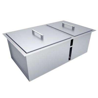 Over/Under 34 in. x 12 in. Height Double Basin Sink with Covers