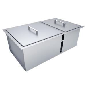 Sunstone Over/Under 34 inch x 12 inch Height Double Basin Sink with Covers by Sunstone