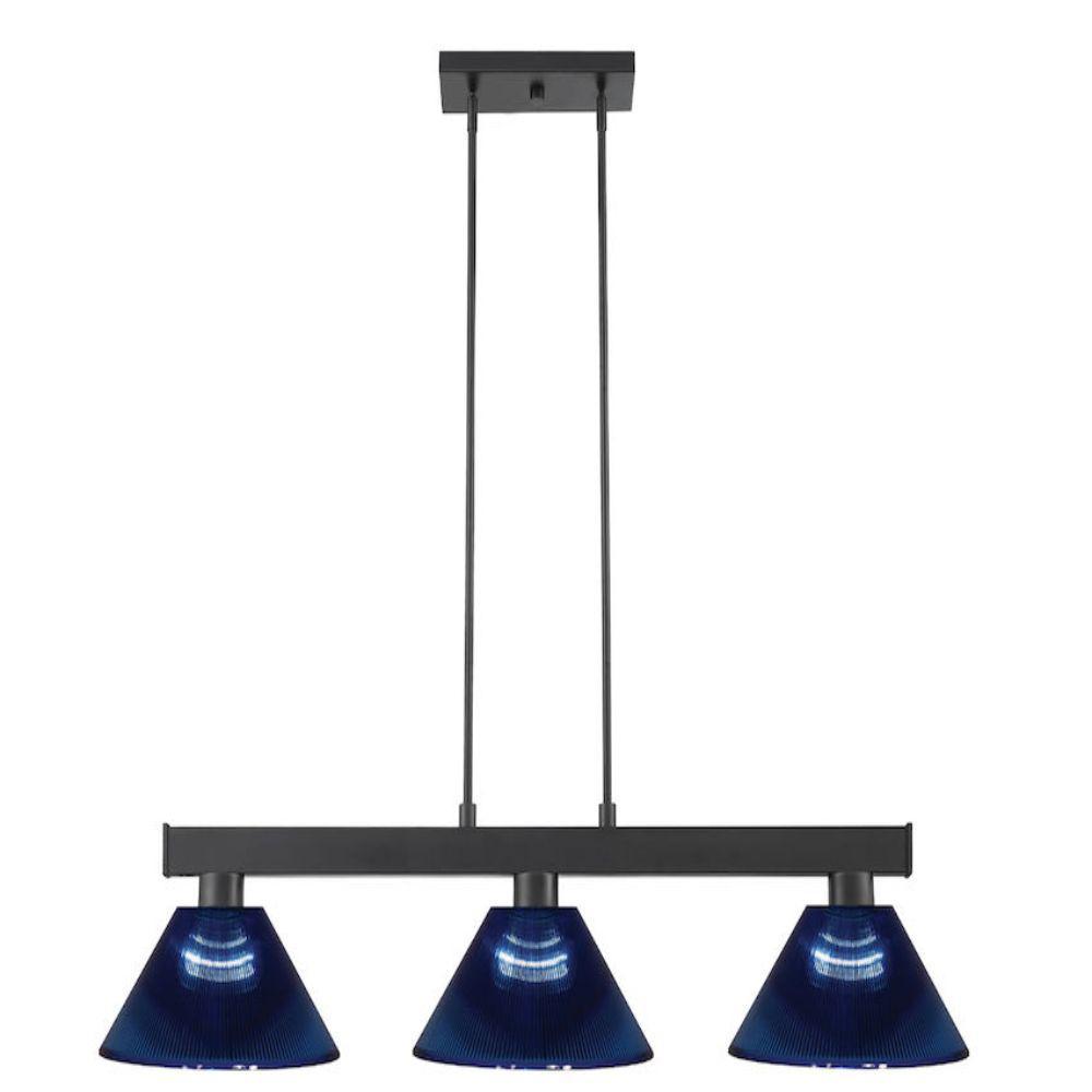 Filament Design 3 Light Matte Black Billiard Light With Dark Blue Acrylic Shade Hd Te53446 The Home Depot