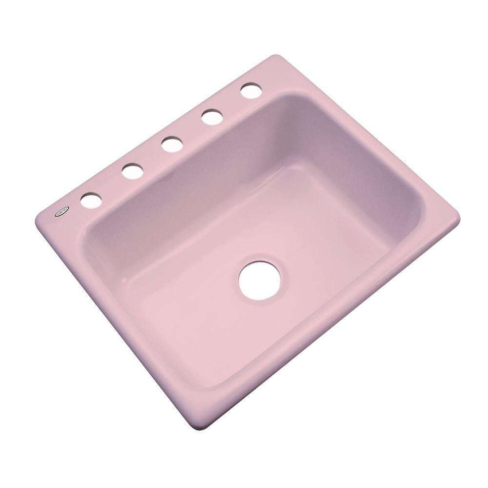 Thermocast Inverness Drop-In Acrylic 25 in. 5-Hole Single Basin Kitchen Sink in Dusty Rose