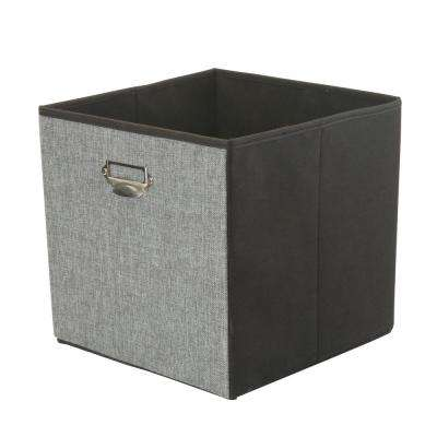 12.8 in. Collapsible Grey Linen Storage Cube