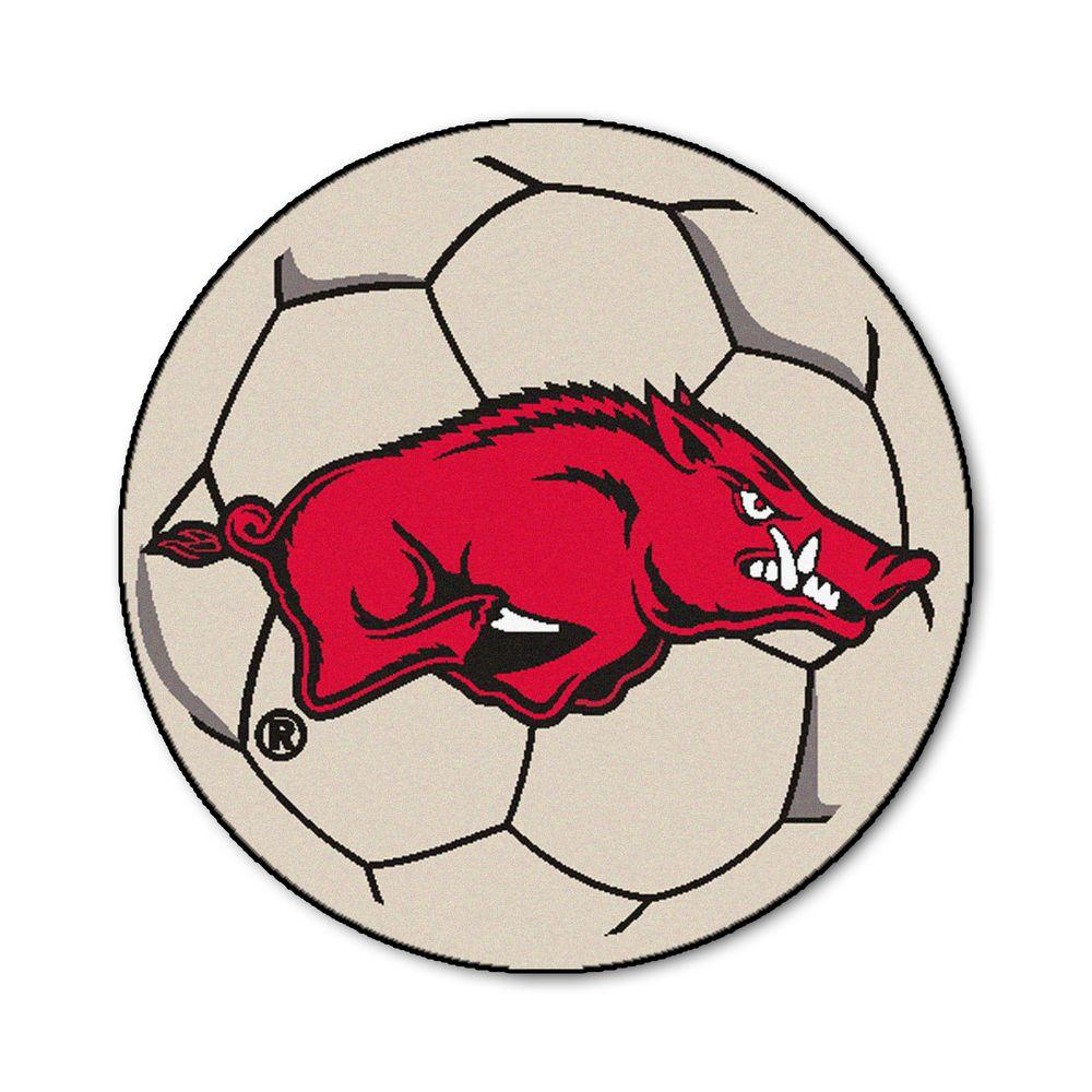 Ncaa University of Arkansas Cream (Ivory) 2 ft. 3 in. x 2 ft. 3 in. Round Accent Rug