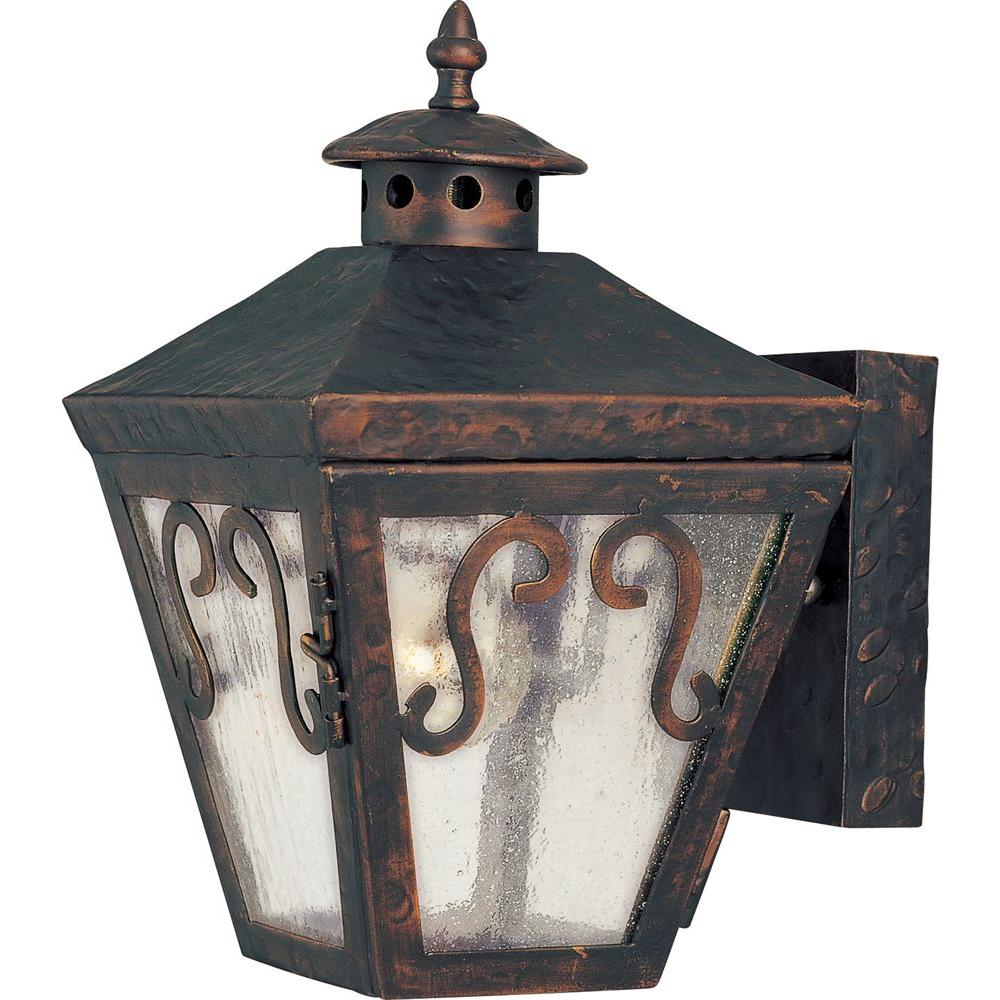 Maxim Lighting Cordoba-Outdoor Wall Mount Sconce Cordoba is a traditional, early American style collection from Maxim Lighting International in Oil Rubbed Bronze finish with Seedy glass.