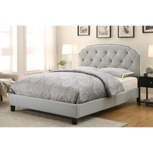 All-in-1 Gray Queen Upholstered Bed