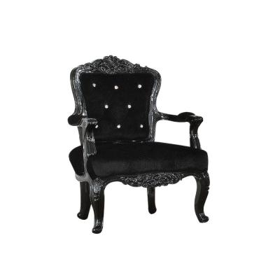 Black Resin and Wooden Frame Accent Chair