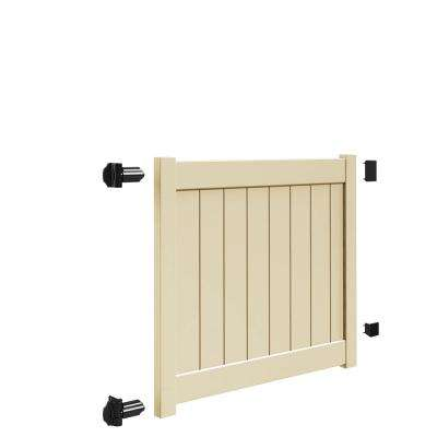 Bryce and Washington Series 5 ft. W x 4 ft. H Sand Vinyl Drive Fence Gate Kit