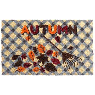 PVC Backed Coir Mat, Autumn, 30 in. x 18 in. Natural Coconut Husked Doormat