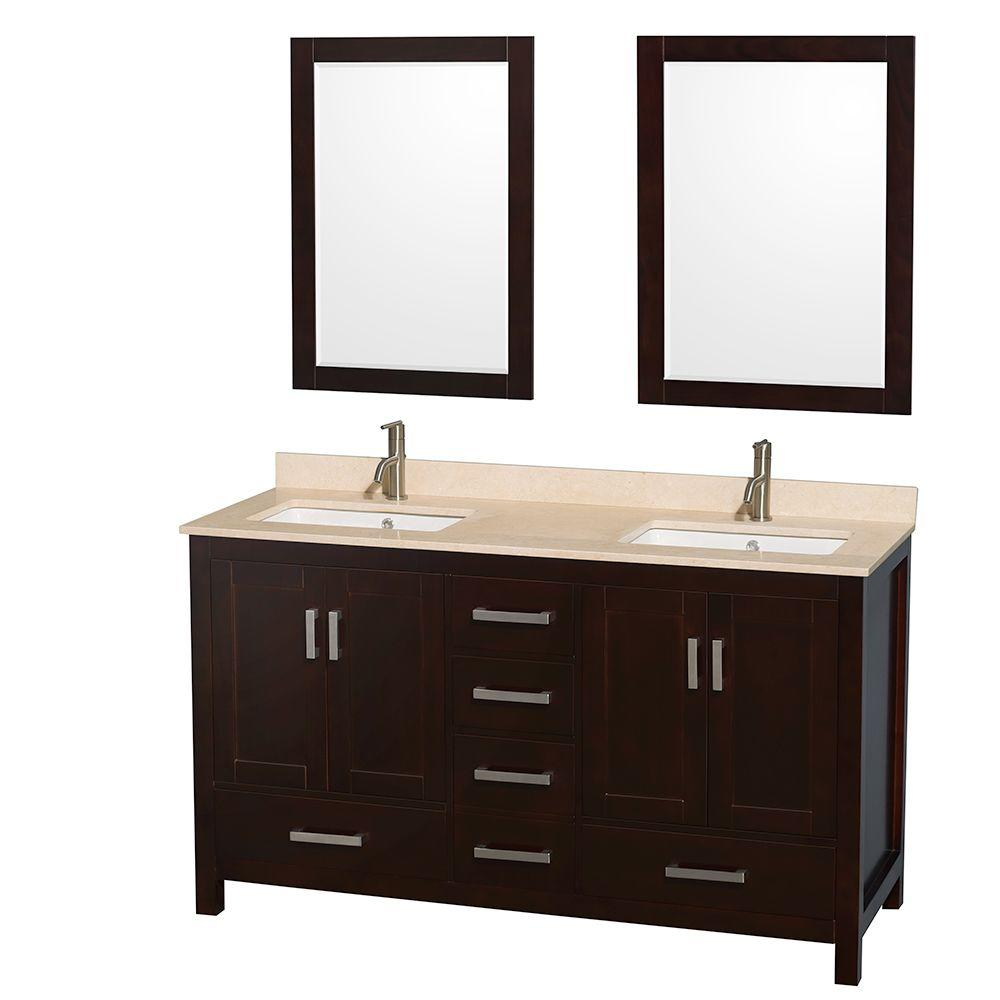 Wyndham Collection Sheffield 60 in. Double Vanity in Espresso with Marble Vanity Top in Ivory and 24 in. Mirrors
