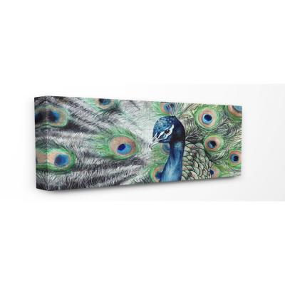 """13 in. x 30 in. """"Elegant Feathers Painted Peacock"""" by Katherine Klimitas Canvas Wall Art"""