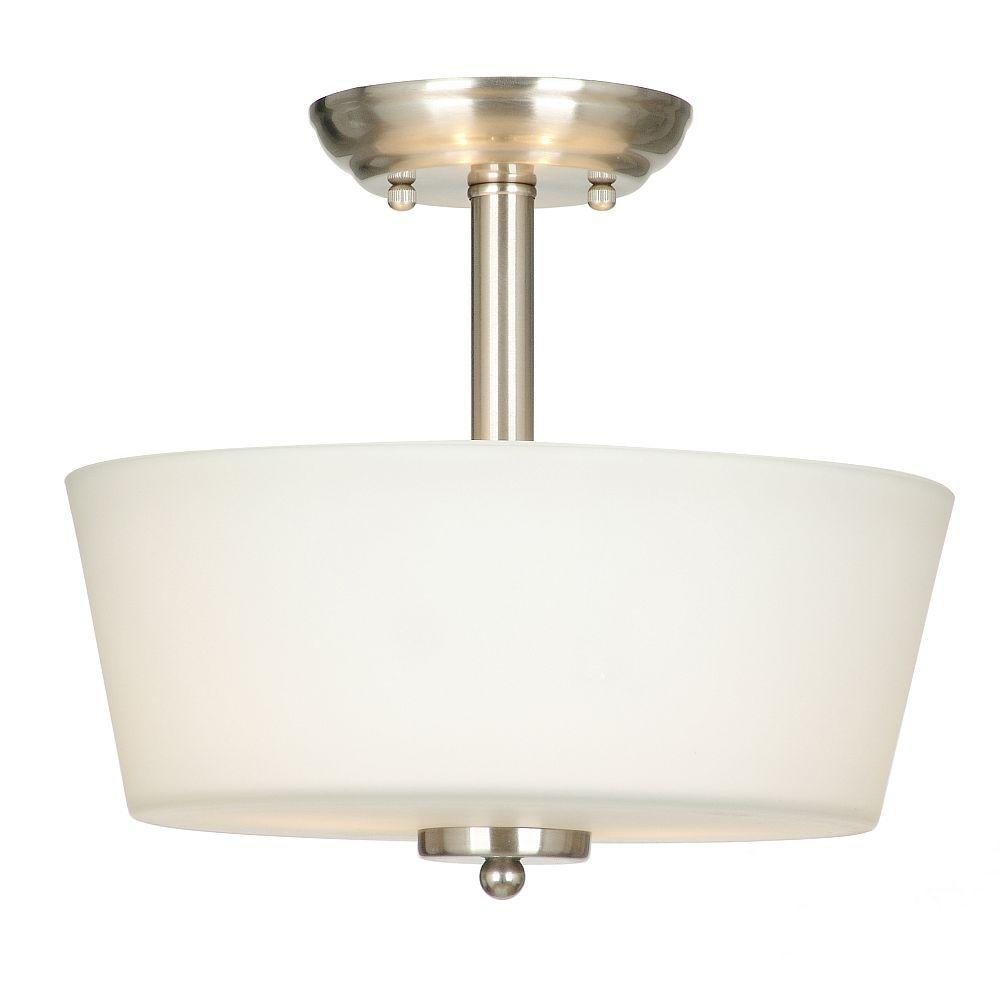 abdbc7d856a Hampton Bay. Sadie Collection 12 in. 2-Light Satin Nickel Semi-Flushmount  with White Glass Shade