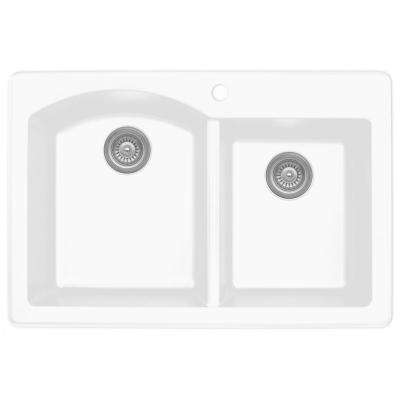 Drop-In Quartz Composite 33 in. 1-Hole 60/40 Double Bowl Kitchen Sink in White