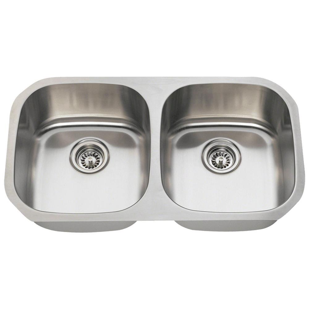 MR Direct Undermount Stainless Steel 33 In. Double Bowl Kitchen Sink