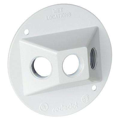 White Round Standard Weatherproof Lamp Holder Cover with 3 Holes