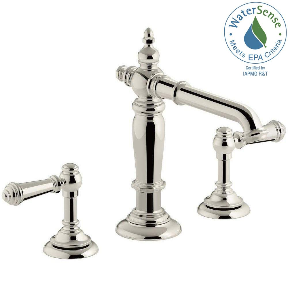 KOHLER Artifacts 8 in. Widespread 2-Handle Column Design Bathroom Faucet in Vibrant Polished Nickel with Lever Handles