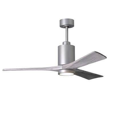 Patricia 52 in. LED Indoor/Outdoor Damp Brushed Nickel Ceiling Fan with Light with Remote Control, Wall Control