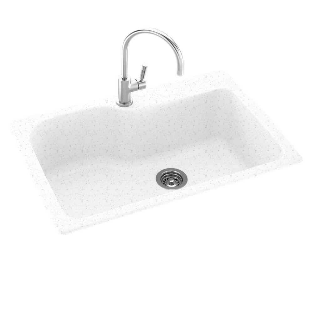 Swanstone Drop In/Undermount Composite 33 In. 1 Hole Single Bowl Kitchen  Sink In Arctic Granite KS03322SB.035   The Home Depot