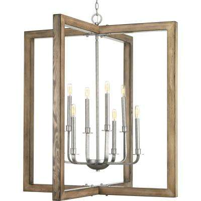 Turnbury Collection 8-Light Galvanized Finish Chandelier with Shade