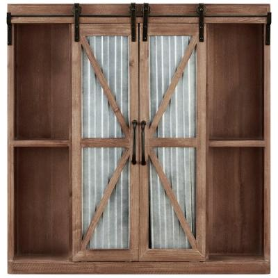 Rustic Brown Westerly Farmhouse Barn Door Accent Cabinet