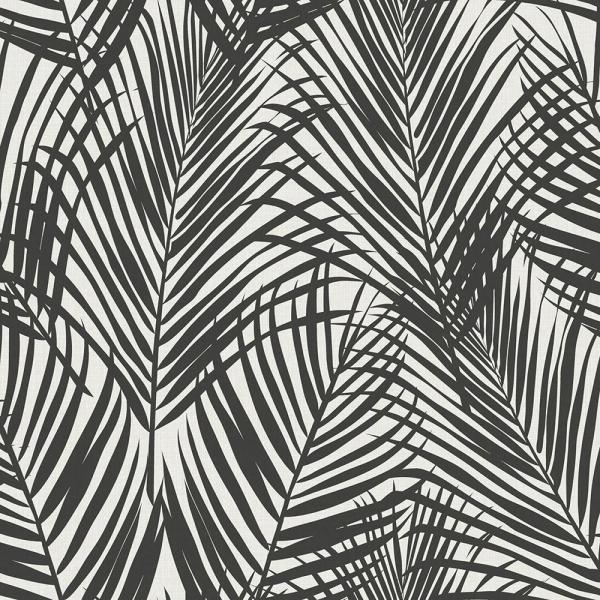 Fifi Black Palm Frond Paper Strippable Wallpaper (Covers 56.4 sq. ft.)