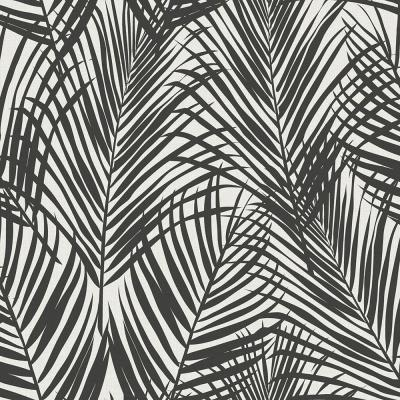 56.4 sq. ft. Fifi Black Palm Frond Strippable Wallpaper