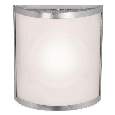 Artemis 2-Light Brushed Steel Wall Fixture with Opal Glass Shade