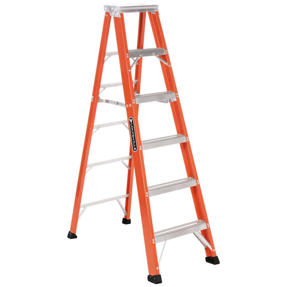 Louisville 6 ft. Fiberglass Step Ladder with 375 lb. Load...