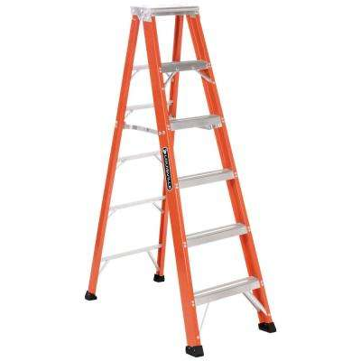 6 ft. Fiberglass Step Ladder with 375 lb. Load Capacity Type IAA Duty Rating