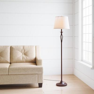 Rhodes 58.50 in. Bronze Floor Lamp with Natural Linen Shade
