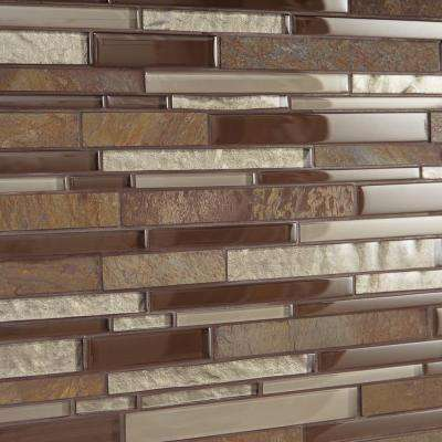 Stone Decor Rustic Slate 12 in. x 14 in. x 8 mm Stone and Glass Random Linear Mosaic Wall Tile (0.95 sq. ft. / piece)