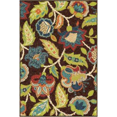 Basil Brown 4 ft. x 5 ft. Indoor/Outdoor Area Rug
