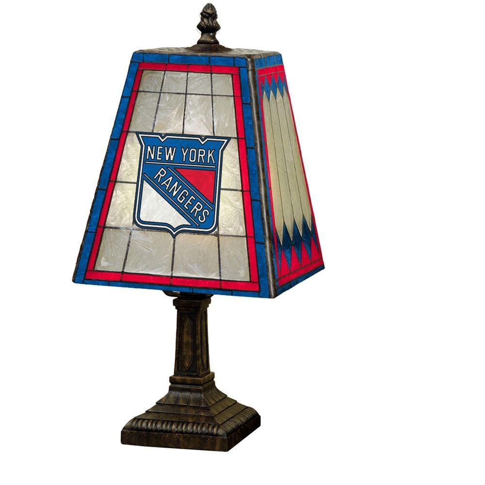 The Memory Company NHL 14 in. New York Rangers Art Glass Table Lamp-DISCONTINUED