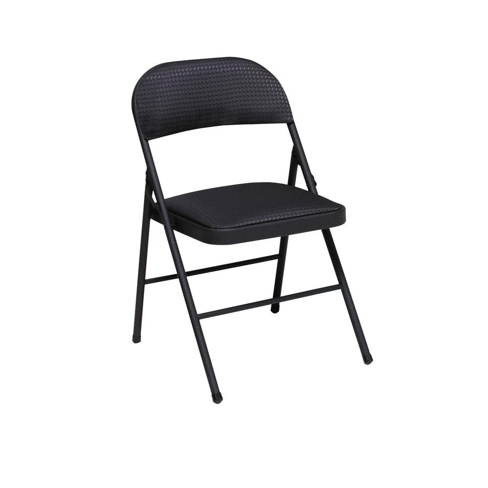 Cosco Black Vinyl Padded Seat Folding Chair (Set of 4)