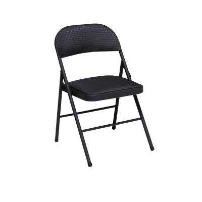 Black Fabric Seat and Back Folding Chair (4-Pack)