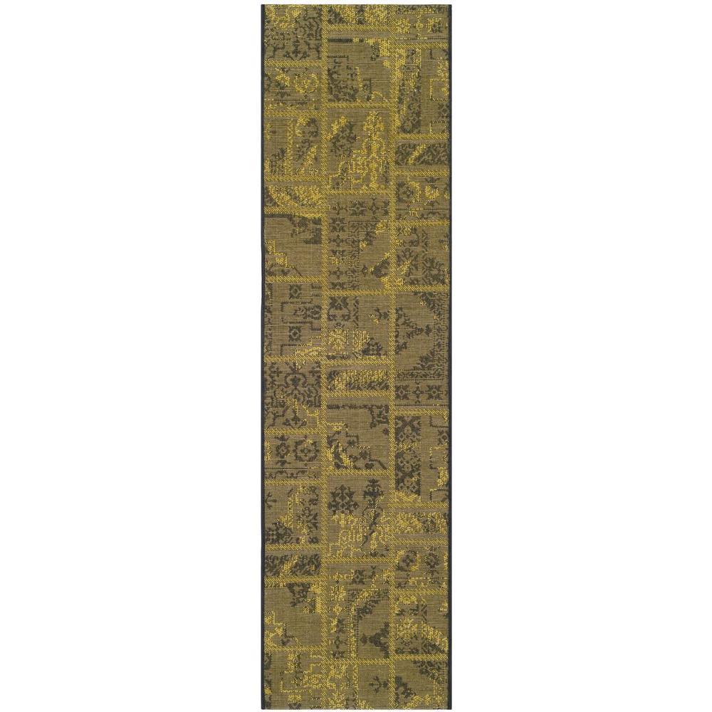 Safavieh Palazzo Black/Green 2 ft. x 7 ft. 3 in. Runner