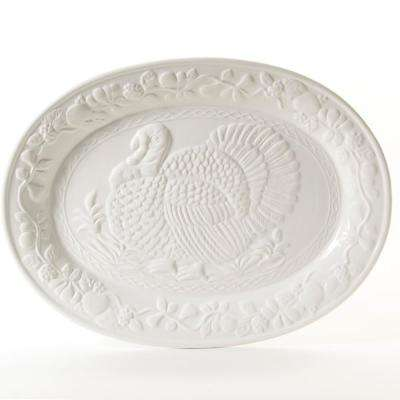 1-Piece White Ceramic Turkey Oval Platter Set