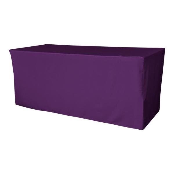 72 in. L x 24 in. W x 30 in. H Purple Polyester Poplin Fitted Tablecloth