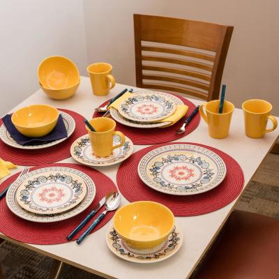 Floreal Orange and Yellow 16-Piece Casual Orange and Yellow Earthenware Dinnerware Set (Service for 4)