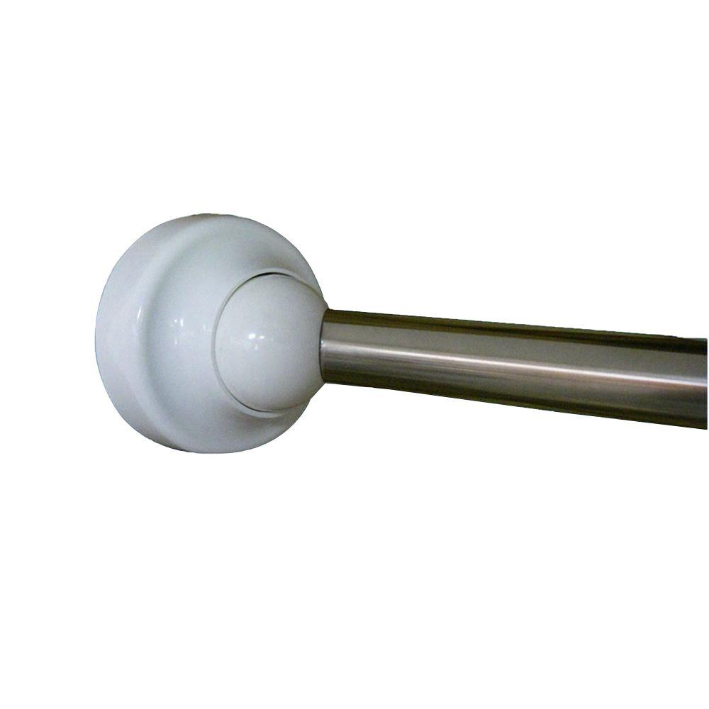 Rotator Rod 60 In Stainless Steel Rotating Curved Shower Chrome With White Cap