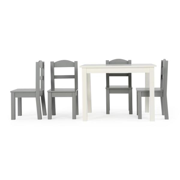 Tot Tutors Springfield 5-Piece White/Grey Kids Table and Chair Set
