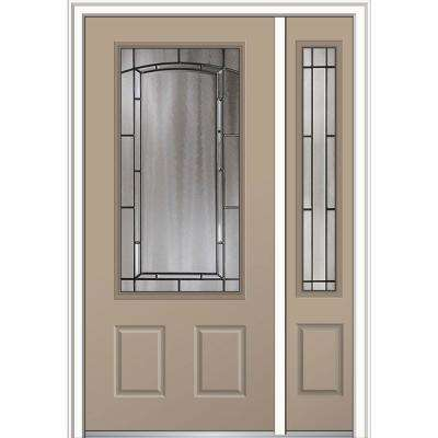 50 in. x 80 in. Solstice Glass Right-Hand 3/4-Lite 2-Panel Classic Painted Steel Prehung Front Door with Sidelite