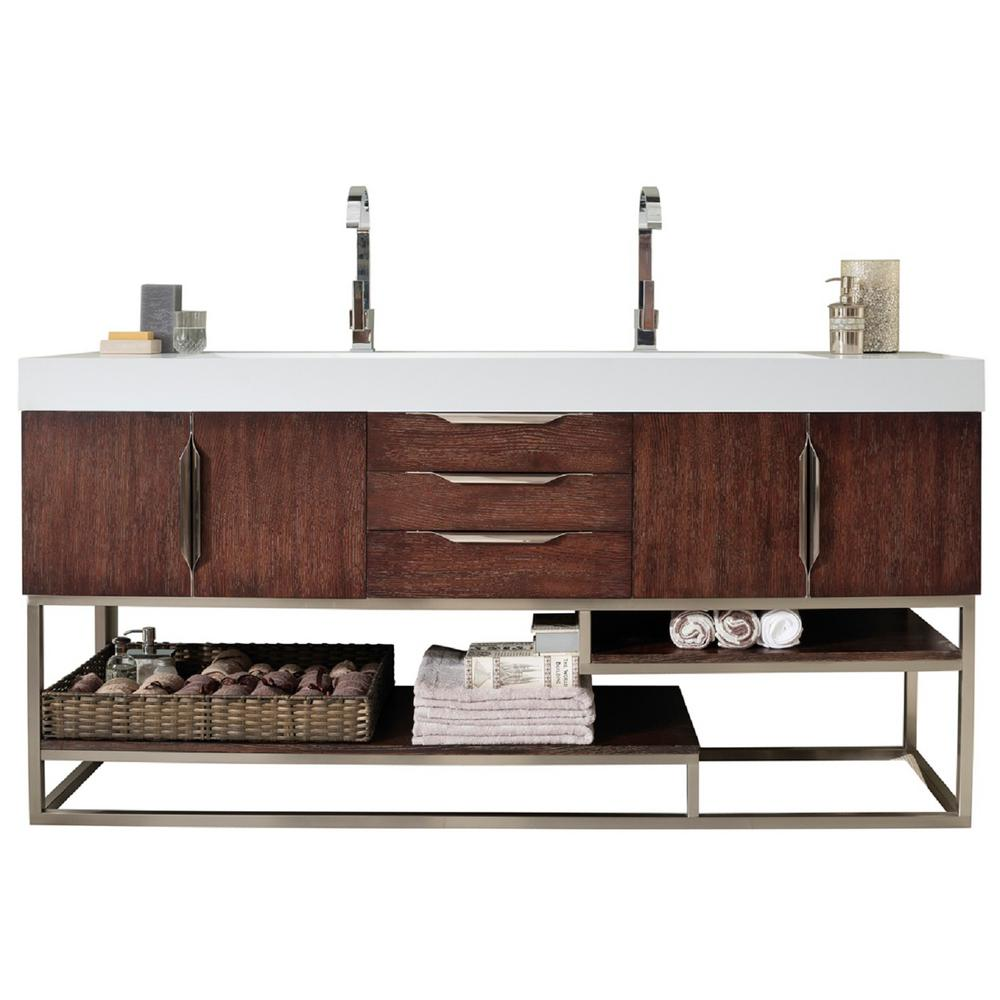 James Martin Signature Vanities Columbia 72 in. W Double Bath Vanity in Coffee Oak with Solid Surface Vanity Top in Matte White with White Basin