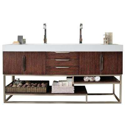 Columbia 72 in. W Double Bath Vanity in Coffee Oak with Solid Surface Vanity Top in Matte White with White Basin