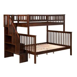 Woodland Walnut Twin Over Full Staircase Bunk Bed