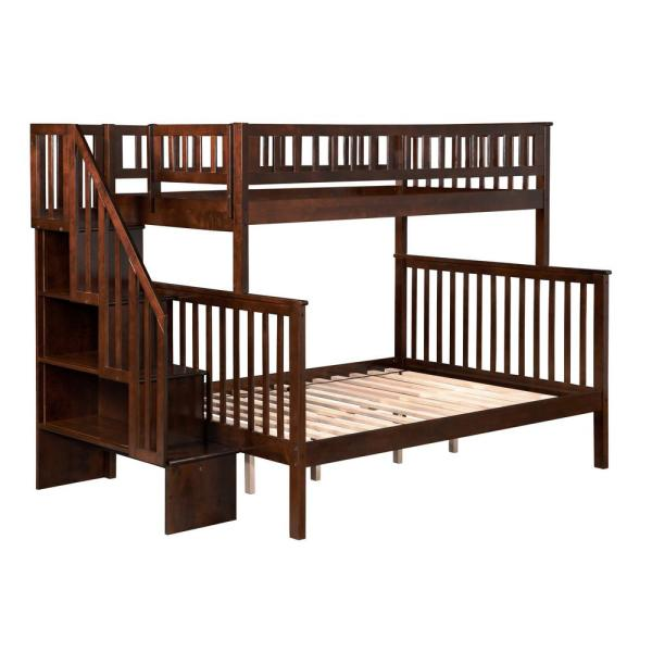 Atlantic Furniture Woodland Walnut Twin Over Full Staircase Bunk Bed AB56704