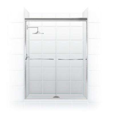 Paragon 1/4 Series 60 in. x 71 in. Semi-Framed Sliding Shower Door with Curved Towel Bar in Chrome and Clear Glass