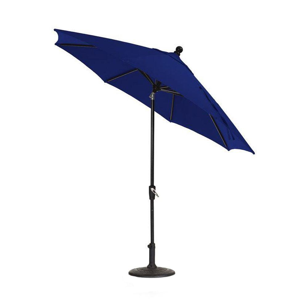 Home Decorators Collection Sunbrella 9 ft. Auto-Crank Tilt Patio Umbrella in Blue-DISCONTINUED