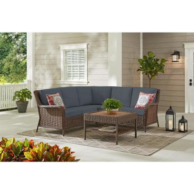 Cambridge 4-Piece Brown Wicker Outdoor Patio Sectional Sofa and Table with CushionGuard Steel Blue Cushions