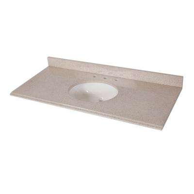 49 in. x 22 in. Colorpoint Vanity Top in Maui with White Bowl