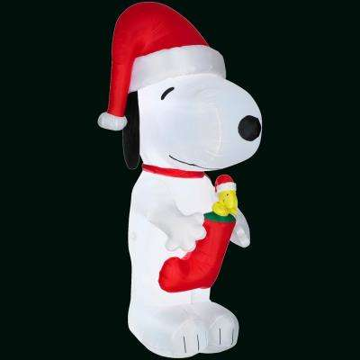 64 in. Inflatable Snoopy with Woodstock in Stocking-Giant-Peanuts