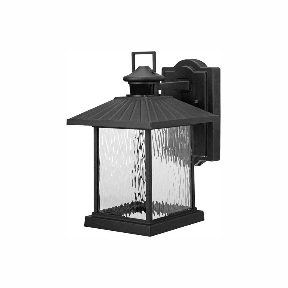 Hampton Bay Lumsden Outdoor Black LED Motion Sensor Wall Lantern Sconce